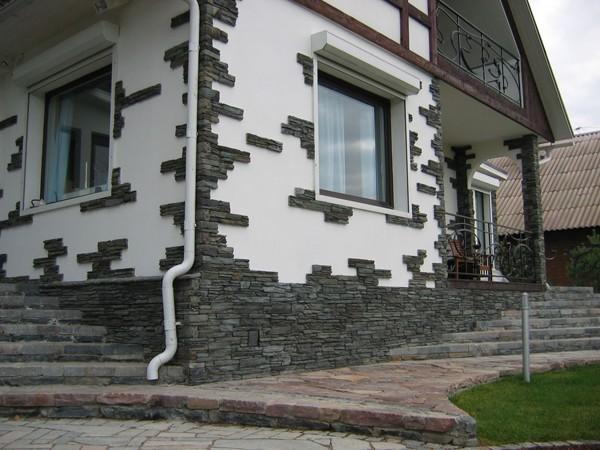 Частичная облицовка фасада камнем