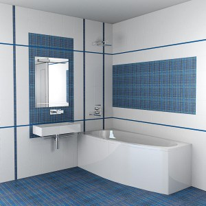 Отделка крупными фрагментами в ванной комнате