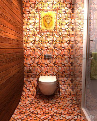 Мозаичная плитка в отделке туалета