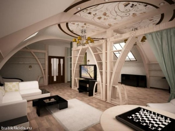 Гипсокартонные конструкции в дизайне мансарды