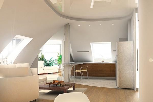 Натяжной глянцевый потолок в мансарде