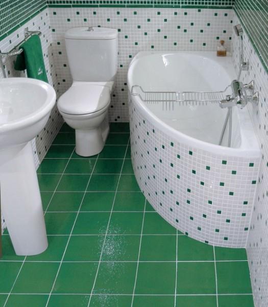 Отделка небольшой ванной с элементами мозаики