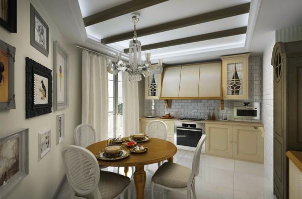 Фальш-балки в декоре потолка кухни