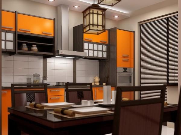 Яркий акцент на мебели в японском интерьере