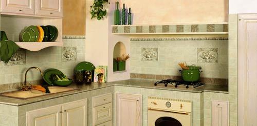 Пример отделки плиткой кухни