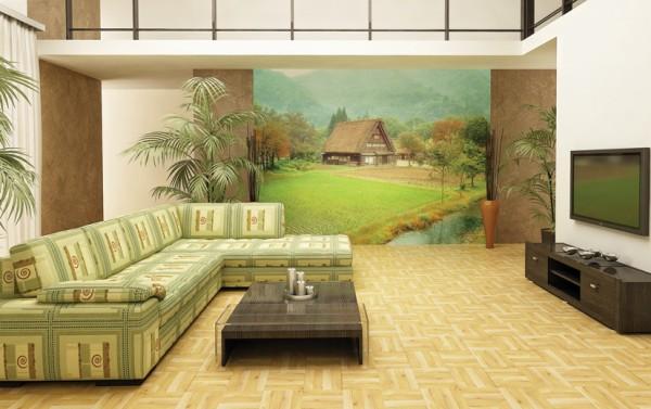 Фотообои, декорирующие стену частично