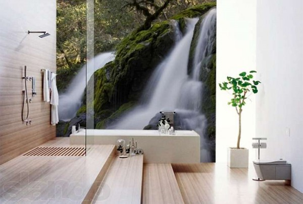 Фотообои на стене ванной комнаты