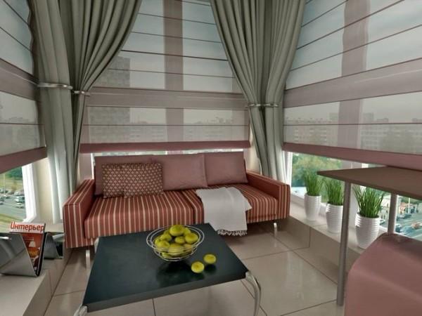 Дизайнерский вариант отделки балкона-террасы