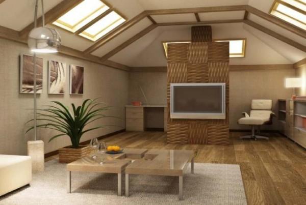 Бамбуковые обои в сочетании с объёмными панелями