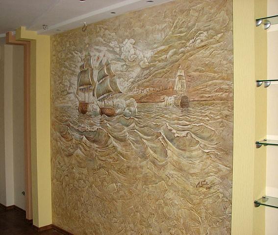 Декоративное оштукатуривание стены