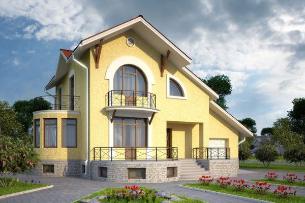 Внешний вид дома из пенобетонных блоков