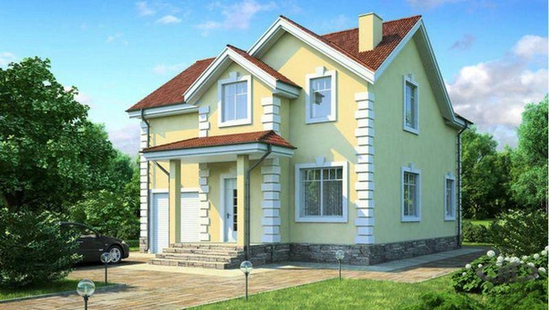 Загородный двухэтажный дом с квадратным планом 1088 на