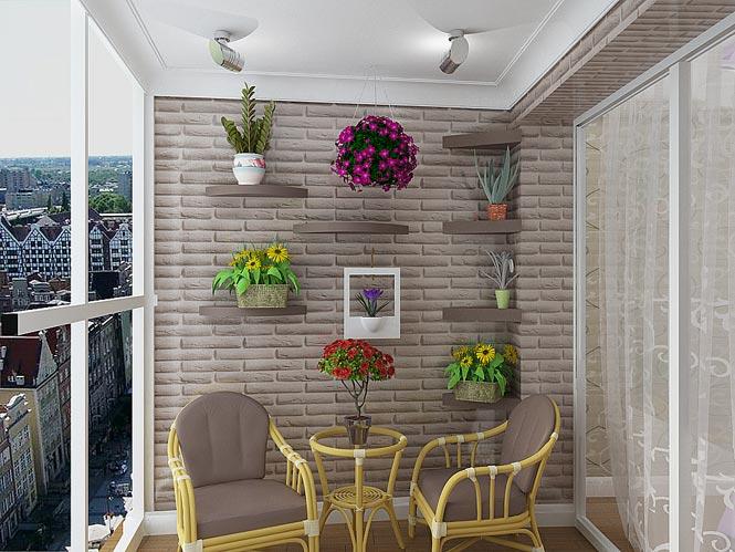 отделка камнем балкон фото