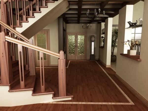 Дерево в отделке потолка, лестницы и пола