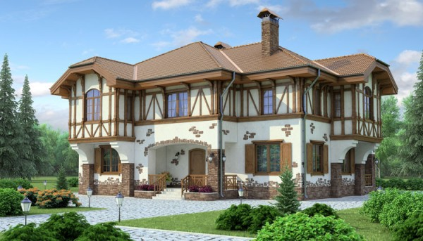 Отделка фасада дома в фахверк стиле