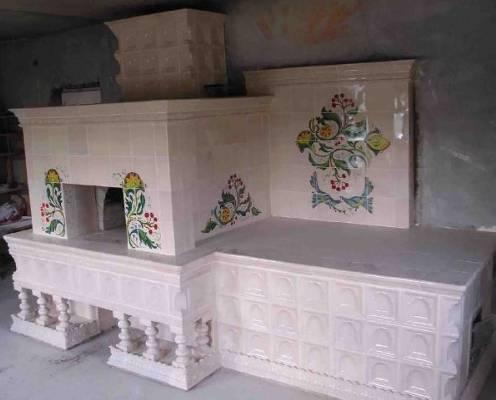 Отделка печи керамической плиткой