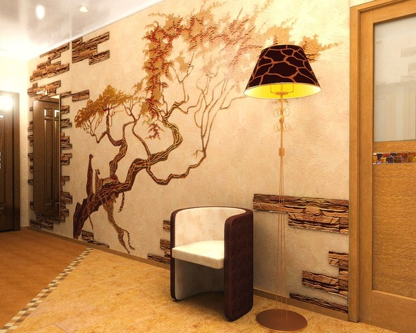 Отделка стены гибким камнем и декоративной штукатуркой