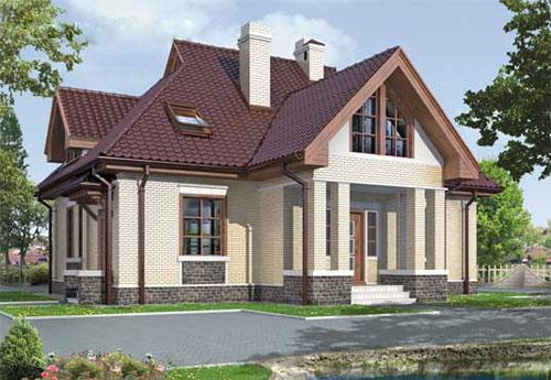 Вариант комбинированной наружной отделки дома