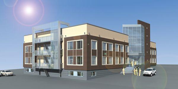 Более наглядную презентацию экстерьера здания дают приложенные перспективные изображения