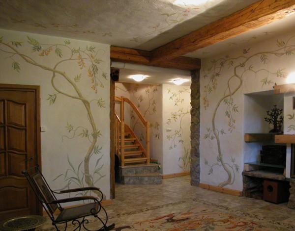 Ручная роспись в интерьере подвального помещения