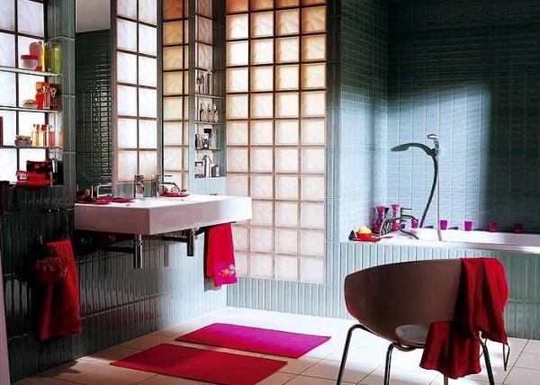 Стеклоблоки в интерьере ванной комнаты