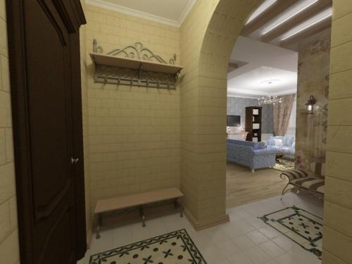 Стены и арочный проход, отделанные одним материалом