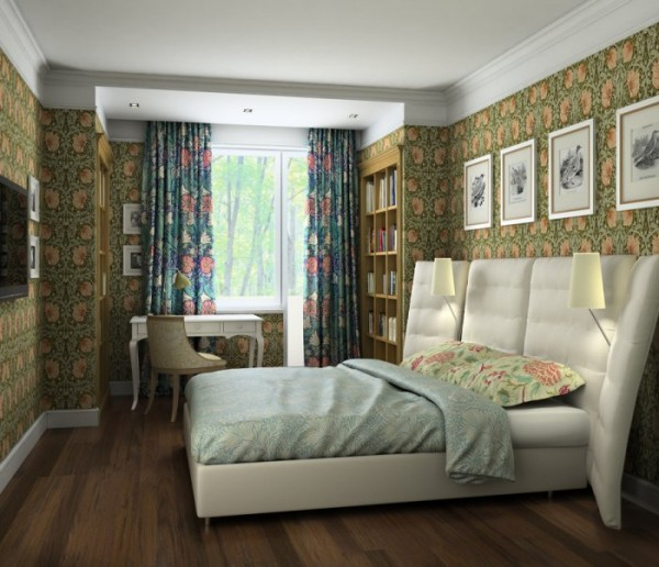 Уютная спальня с тёмными обоями