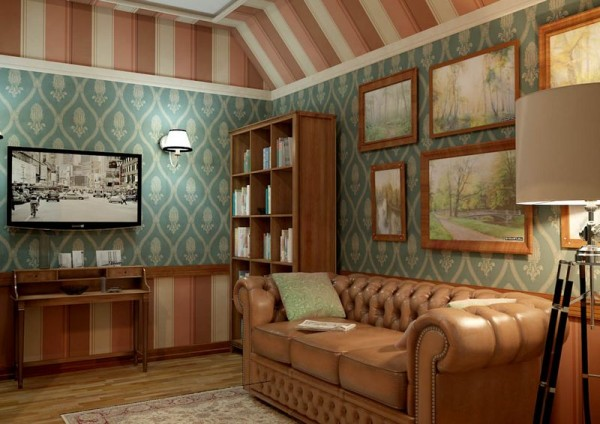 Отделка стен гостиной в стиле Прованс