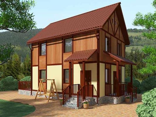 Оригинальный фасад щитового финского дома