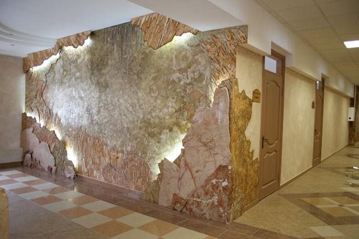 Дизайн стен штукатуркой
