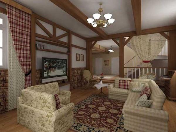 Внутренняя отделка гостиной в стиле немецкого кантри