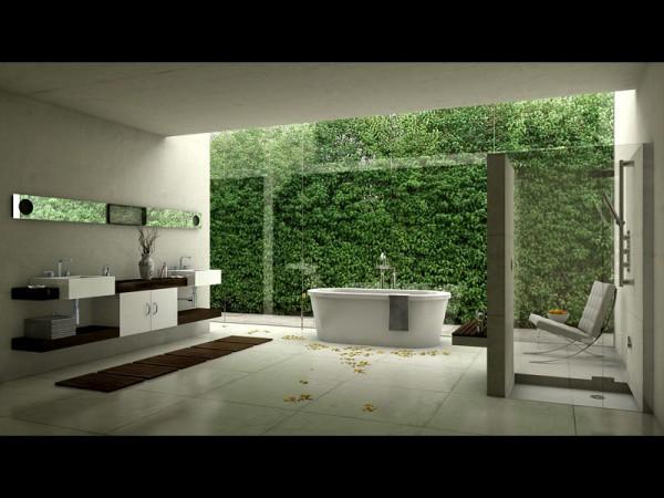 3Д обои в дизайне ванной комнаты
