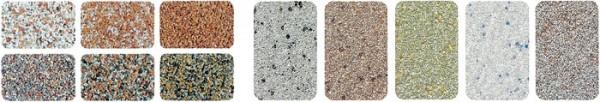 Богатейший выбор цветов и оттенков (слева каменная крошка, справа – кварцевая)