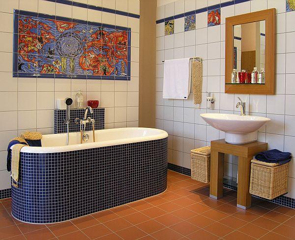 Дизайн: облицовка стен в ванной в стиле пэчворк