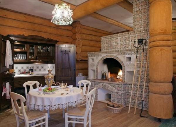 Интерьер дома из калиброванного бревна
