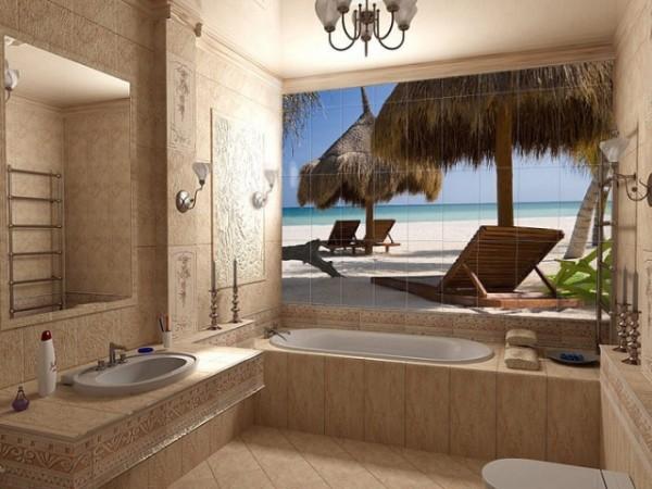 Интерьер ванной в тропическом стиле