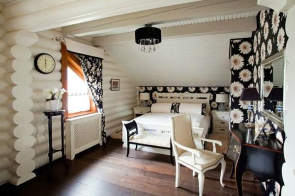 Использование ГКЛ в дизайне бревенчатого дома