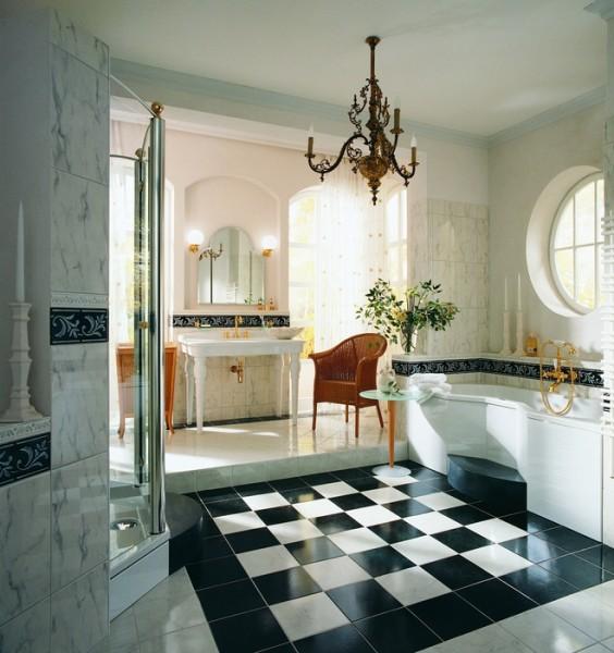 Керамогранит и мраморная плитка в отделке ванной