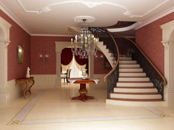 Декор помещения с оштукатуренными стенами и потолком