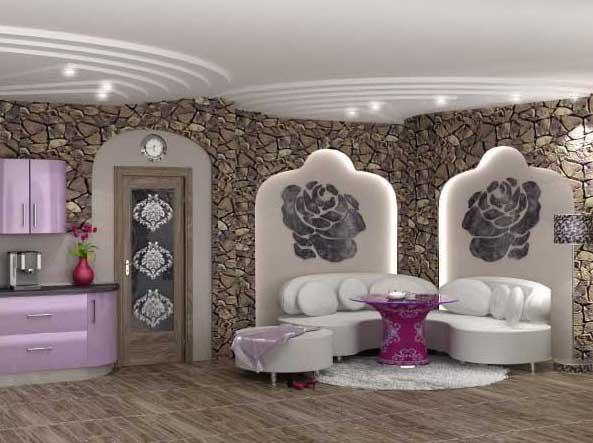 Комбинация камня и гипсокартона внутри помещения