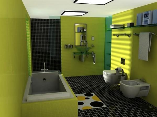 Контрастная облицовка ванной комнаты: дизайн