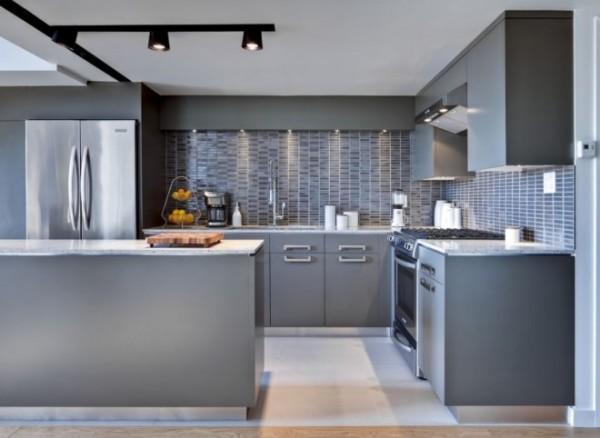 Кухня в стиле модерн: панно скинали с рисунком под кирпич