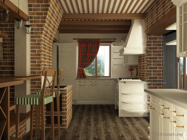 Кухня загородного дома в стиле кантри