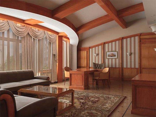Несущие потолочные балки в дизайне помещения