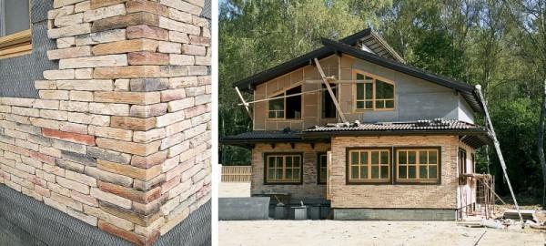 Если дом деревянный, наносим сначала сетку и только после этого делаем укладку