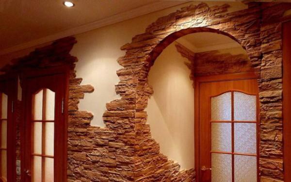 Отделка радиусных стен декоративным камнем