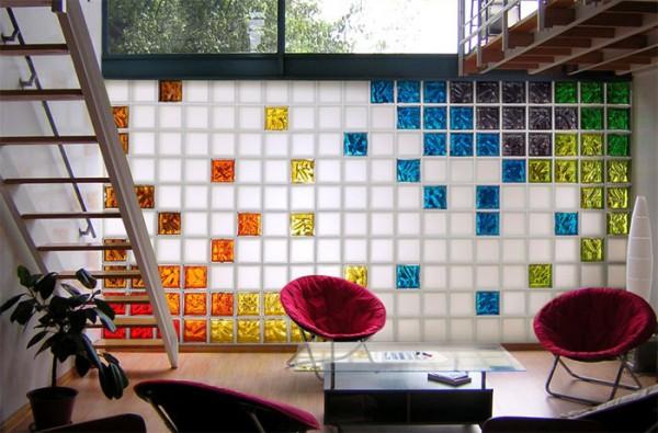 Стены веранды из стеклоблоков