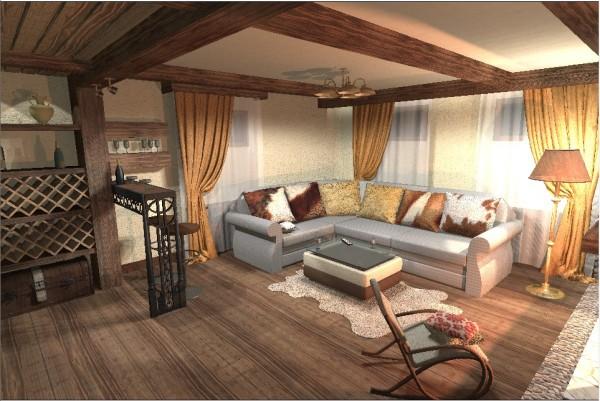 Уютный декор с применением деревянных балок на потолке