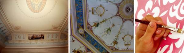 Расписные потолки в деревянном срубе
