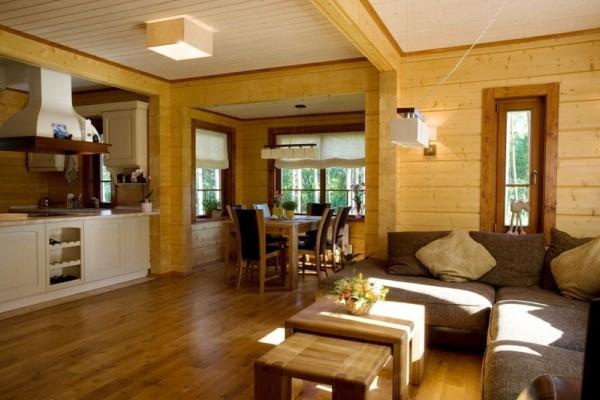 Внутренний дизайн дома из калиброванного бруса